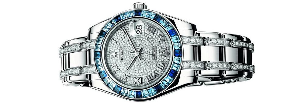 Часы Rolex Pearlmaster с розовыми и голубыми сапфирами