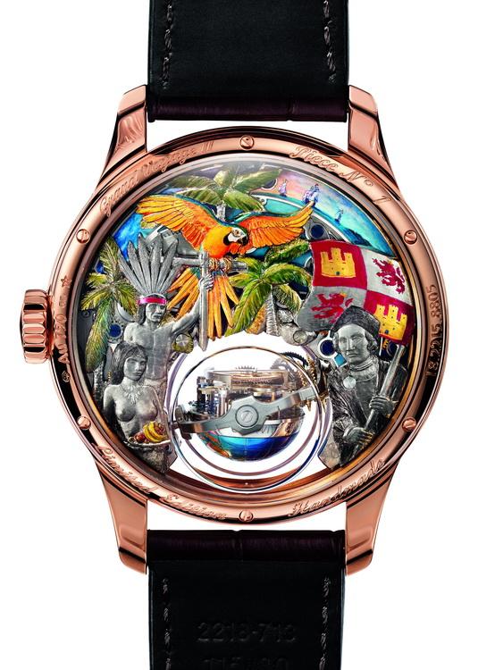 Часы украшены виртуозной гравировкой и живописными миниатюрами. . В... Zenith: часы Academy Christophe Colomb