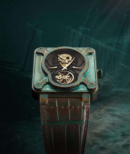 Часы Bell & Ross BR-01 Skull Bronze Tourbillon в единственном экземпляре
