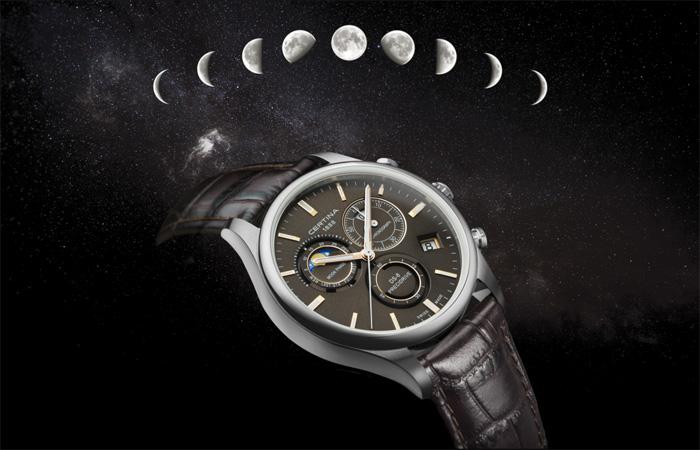 Часы DS-8 Chronograph Moon Phase от Certina с уникальным индикатором фаз Луны