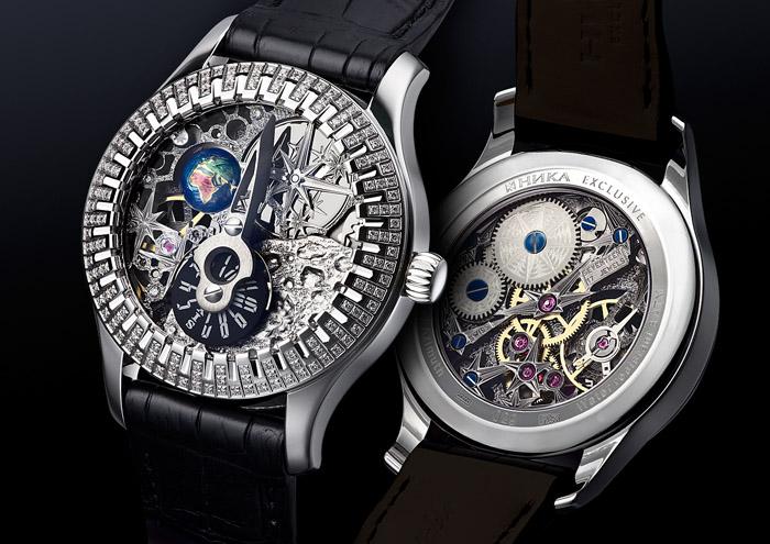 Часы-скелетоны Universe из белого золота от Nika Exclusive